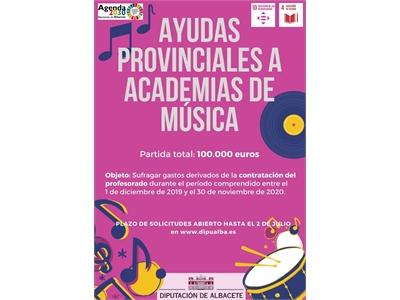 La Diputación contribuirá al sostenimiento de las Academias de Música de la provincia con una partida de ayudas de 100.000€